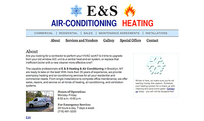 Screenshot of E&S Air Conditioning/Heating